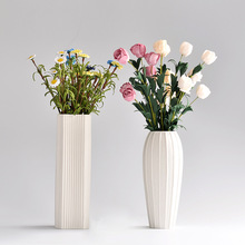 Wholesale home decoration stripe white ceramic flower vase