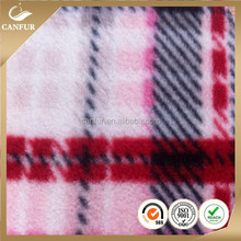 100% cortton custom printed plaid wholesale polar fleece fabric