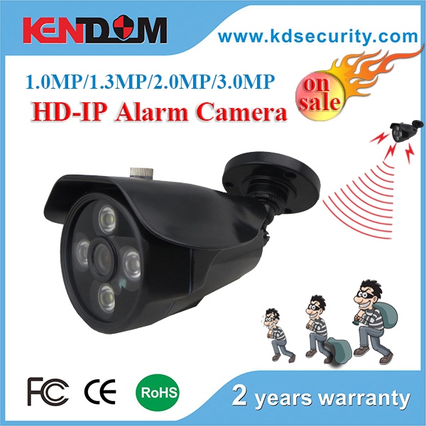 Kendom Hot Sale Alarm H.265 IP Camera support onvif, p2p, poe Camera 2MP IP Bullet Alarm Series with IP Alarm System