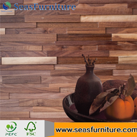 Wholesale New Style Decorative 3D Effect Wooden Wall Panel for interior decoration 1200*200mm walnut