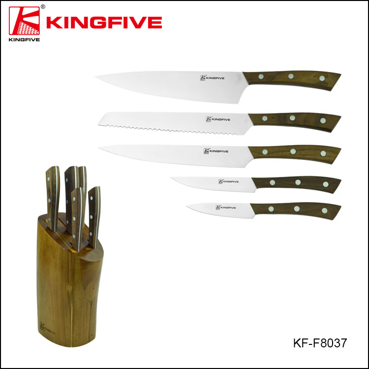 Walnut OEM Block German Good Stainless-Steel Kitchen Knife Set