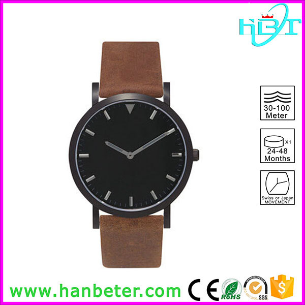 316l Stainless steel singapore movement quartz brand watches with matt black dial