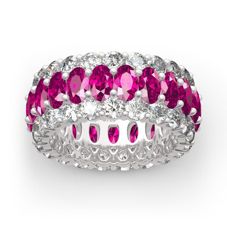 Classic Oval and round cut pink cubic zirconia eternity <strong>ring</strong>