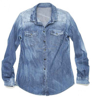 New adults latest mens fashion wash long sleeve denim shirt jeans high quality facotry in China