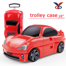 "18"" pp children travel trolley car shape luggage for kids"