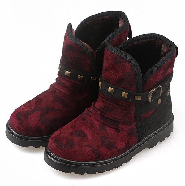 d81944f 2015 latest winter warm half boots camouflage snow boots for kids