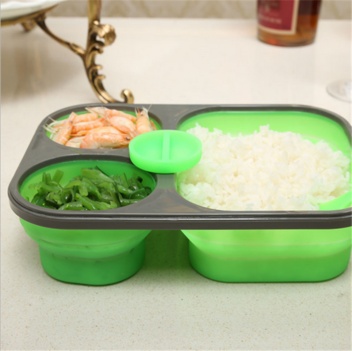 Folding Collapsible lunch box silicone,Three Compartments With Cutlery Green 3 compartment lunch box silicone