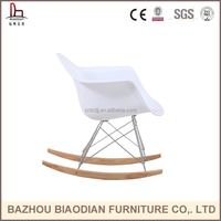 XH-8066A PP plastic armrest chair with wooden legs rocking chair for living room