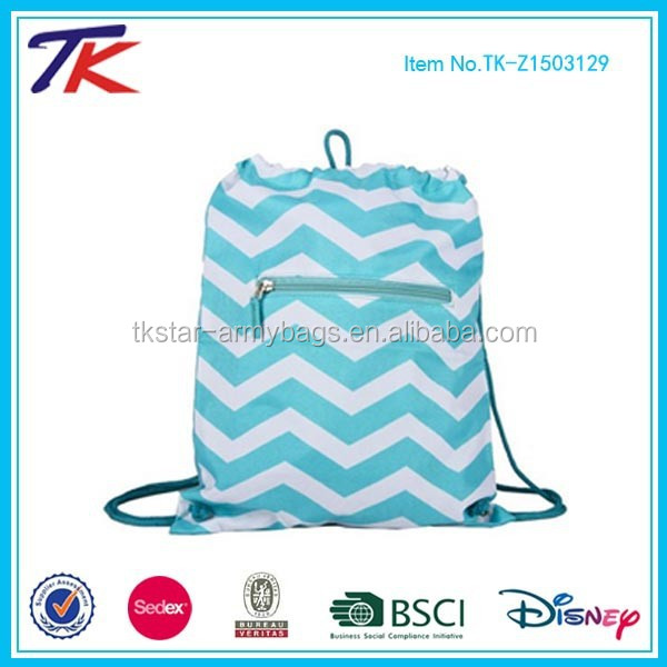 Stylish Print Custom Drawstring Sack Pack for Travel and Sports