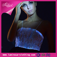 Beautiful RGB Colors Controlled LED Lighting Women Sexy Strapless Slim Tunics Tops For Cocktail Party/ Feast/Dinner Party