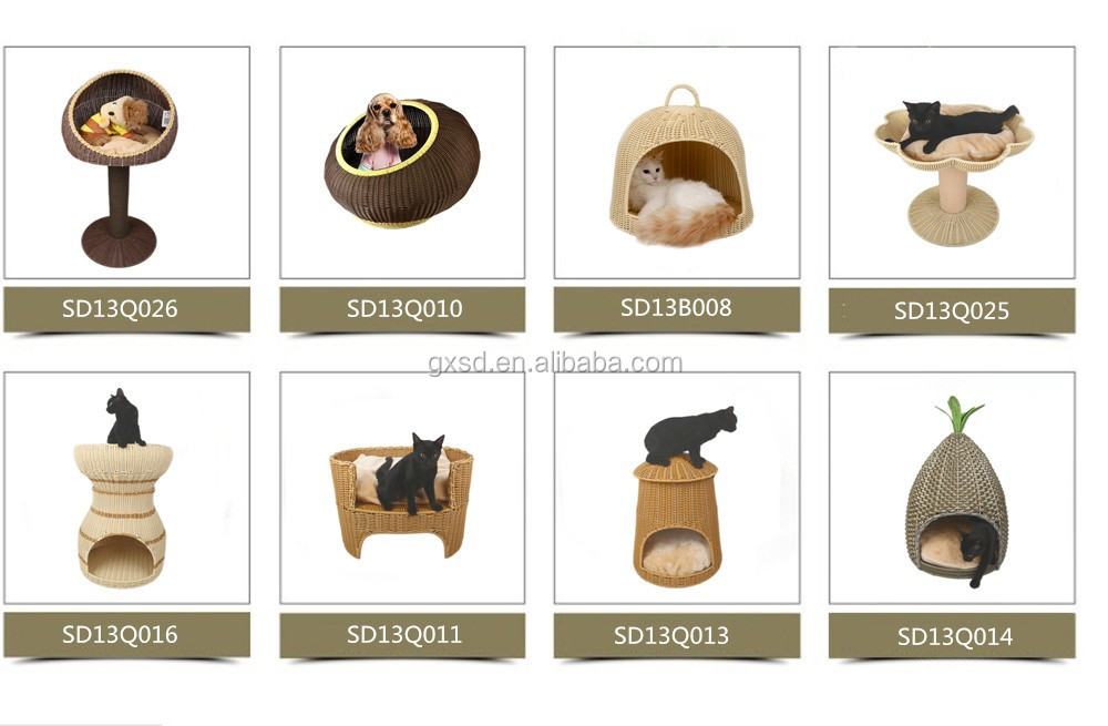 Factory supply handcraft tall cat house with toy wholesale cat trees