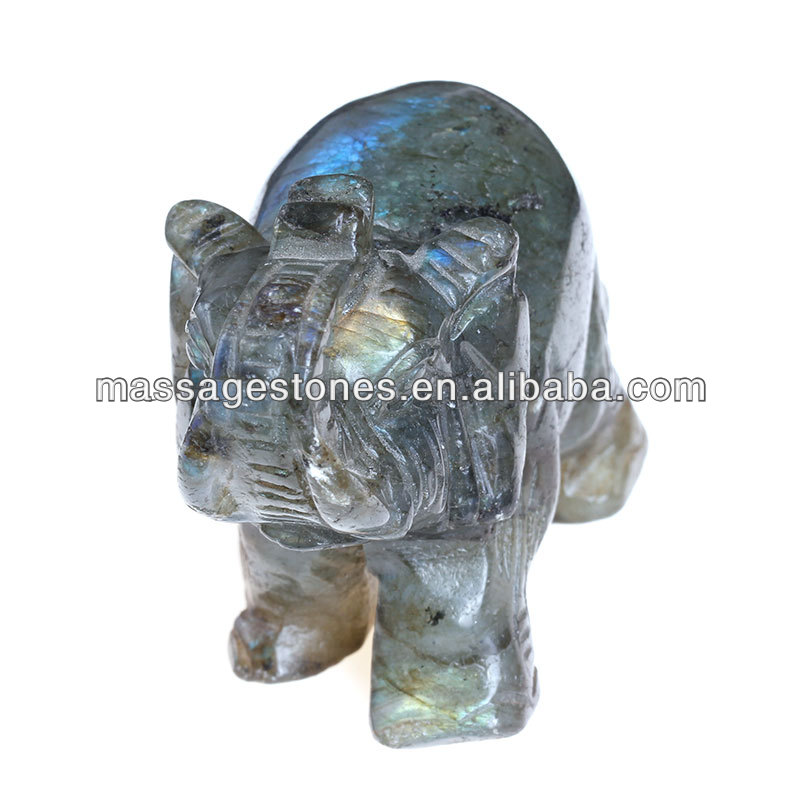 "3"" Natural Fluorite small stone animal carving elephants"