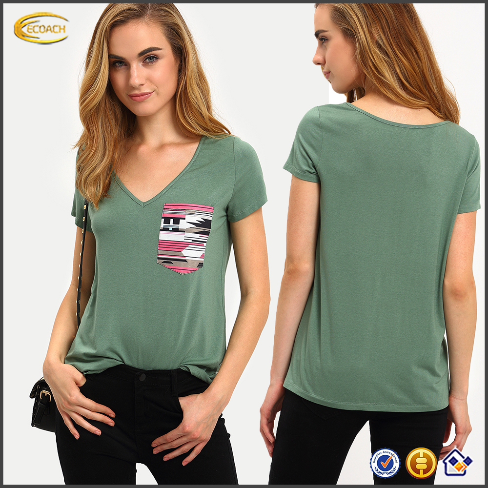 Ecoach wholesale 2016 high quality American style Green Short Sleeve V Neck Pocket 100% rayon ladies t shirt