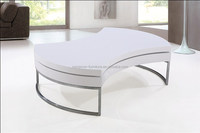 white lacquer MDF high gloss wooden round rotating coffee table