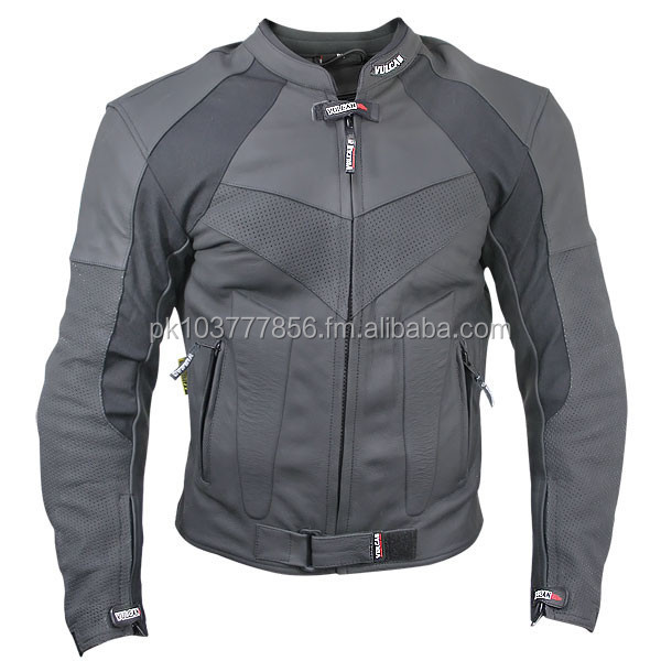 Vulcan NF-8136 Armored Mens Matte Black Leather Motorcycle Jacket