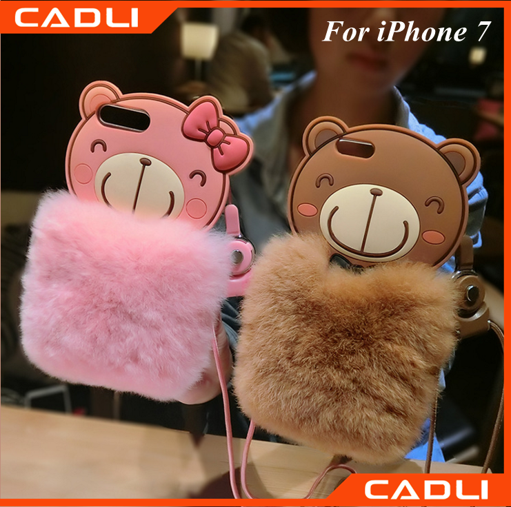 hot bear design 3D rabbit fur soft silicone phone case cover for iphone 7