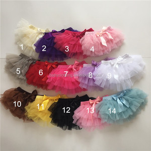 Howell 2017 fashion many colors cute cotton and tulle baby ruffle tutu skirt
