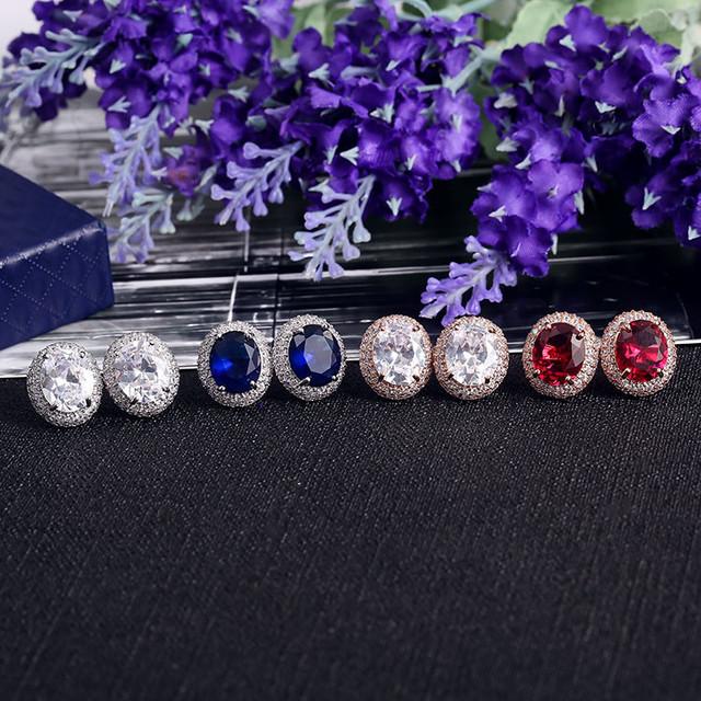 Top fashion oval fine 4 color jewelry 2 color framework bulk wholesale earrings
