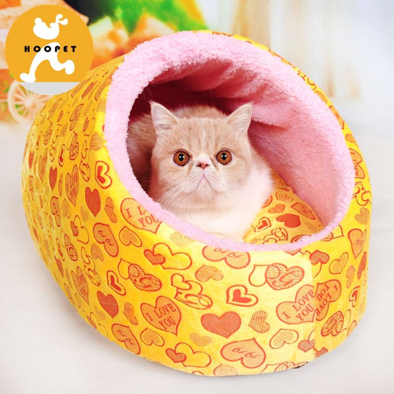 Outside and indoor yellow dog and cat house