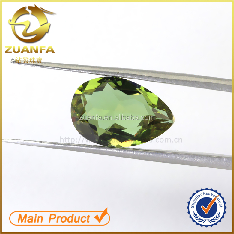 lower price green aaa quality colored pear shape glass stone