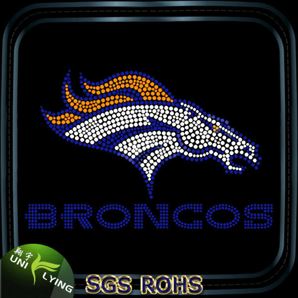 Denver Broncos hotfix crystal stones for clothes decoration