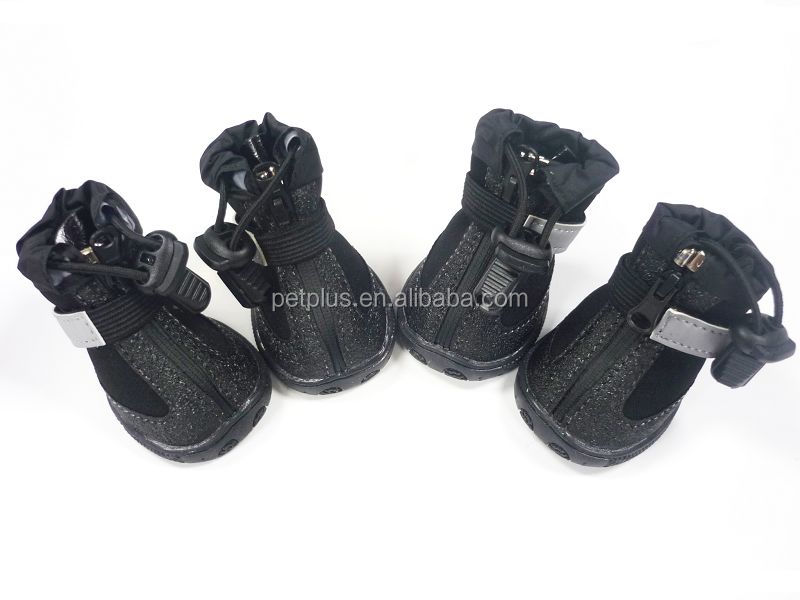 Amazon sale Pet Dog Shoes Anti Slip Waterproof Bottom Dog Boots Black 4pcs/set