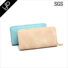 Hot selling high quality Pastel color 3 layers woman faux leather slim wallet with metal zipper