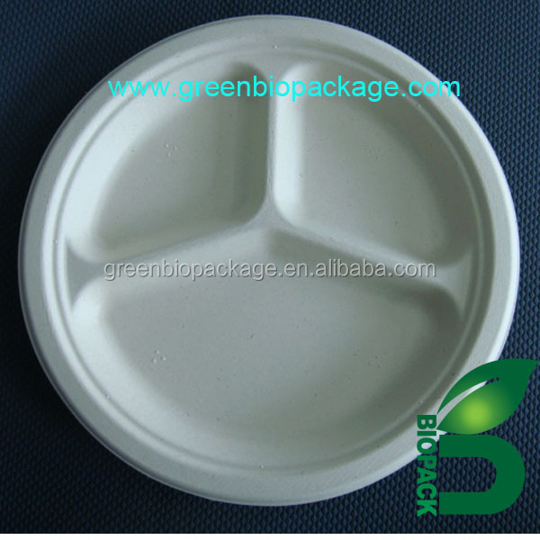 a 100% biodegradable disposable bagasse plate
