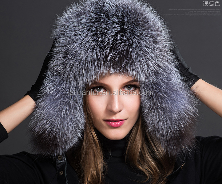Factory wholesale russian style winter whole skin fox fur hat
