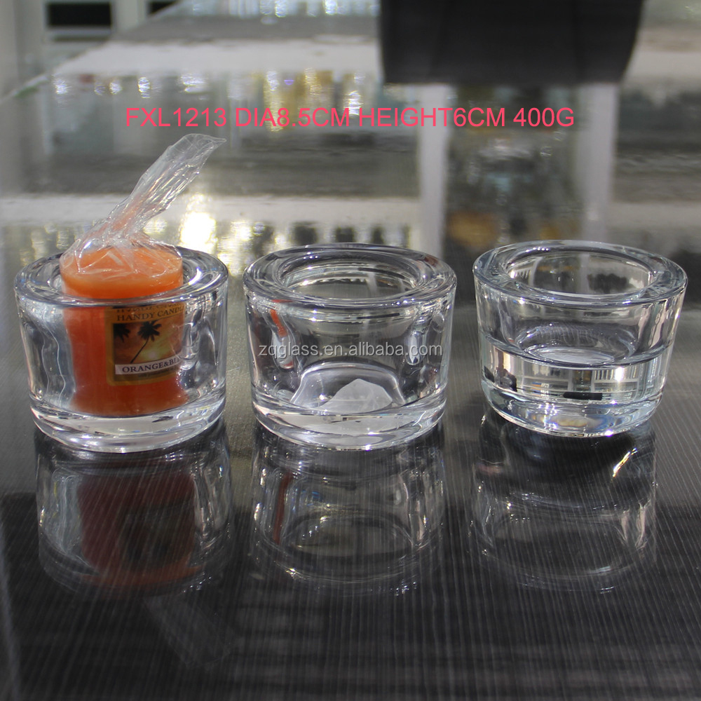 Circular Round Thick Wall Crystal Clear Glass Candle Holder