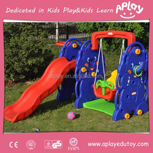 Kids plastic indoor slide with basketball and swing for baby play slide AP-IS0009A