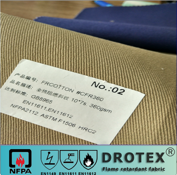 Khaki color 100%safety clothing / workwear cotton 3/1 twill 360gsm FR fabric EN11611 / EN11612 drotex FR producer