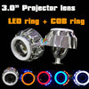 3.0 inch HID bi-xenon lens projector headlight h4 h7 double angel eyes projector lens