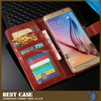 China wholesale flip wallet leather case for samsung galaxy s6 stand cover book style cheap price