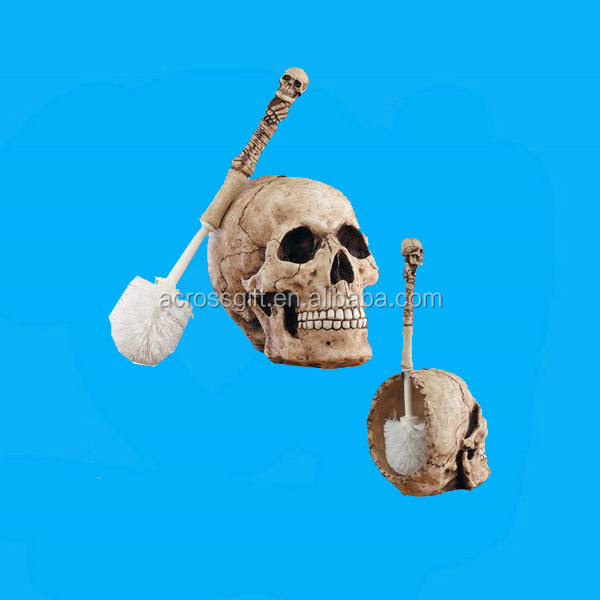 Skull Head resin toilet brush holder