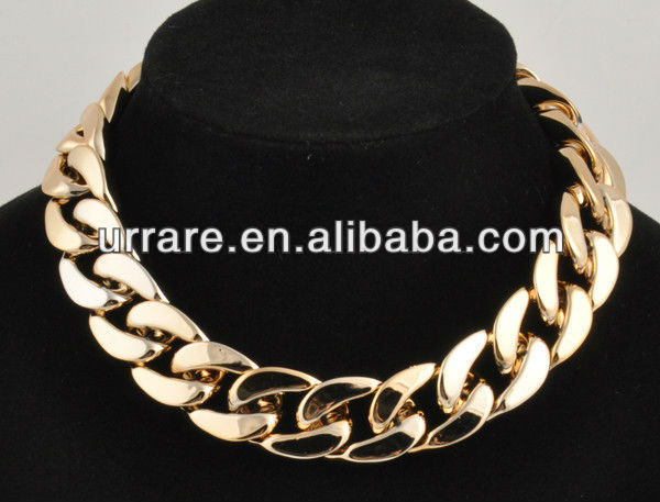 Gold CCB Plastic Acrylic Curb Link Chain Necklace