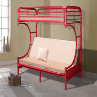 C Style Sofa Futon Metal Bunk Bed Red