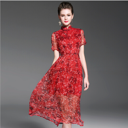 2017 floral printing silk dress irregular length sexy 2 pcs dresses for women China wholesale
