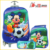 Students children 3D luggage cute Mickey Mouse cartoon kindergarten kids trolley school bag for teens