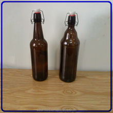 1000 ml amber beer glass bottle with swing top