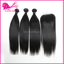 8a grade wholesale brazilian straight hair weave bundles,3 bundle virgin hair weft with one piece human hair lace closure