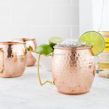 Hot Hammered Stainless Steel Moscow Mule Mug, High Quality Copper Mug Drum-Type Beer Cup