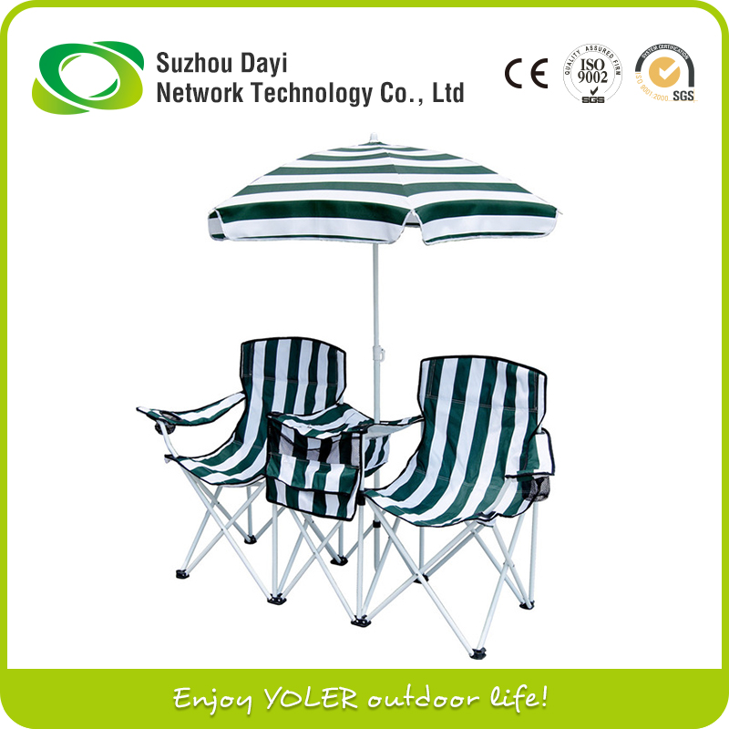Metal Material Double seat Folding camping chair with umbrella