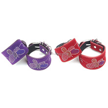 2015 butterfly metal handcuffs purple leather handcuffs adult toys