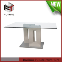 cheap glass top MDF wood and glass modern restaurant dining table designs