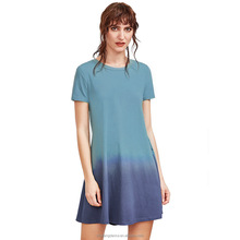 New Fashion Summer Ladies O-Neck Loose Fit Simple Dip Dye Casual Dress