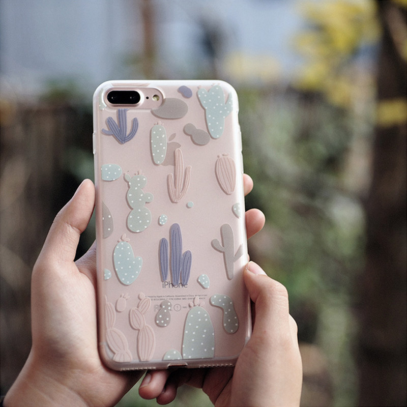 Kawaii Literary Cactus Field Rain Cloud Cell Phone Case Protecting Cover