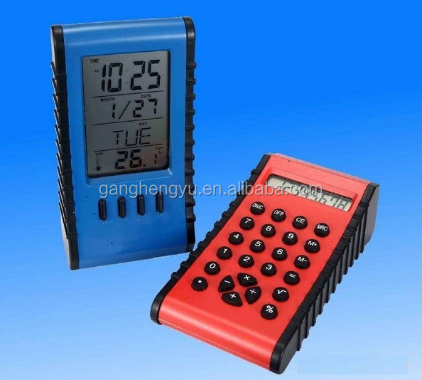 Multifunctional Double LCD Digital Calendar Clock With Calculator Function