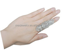 Fashion Rhinestone Armor Jewelry Knuckle Hinged Adjustable Long Double Full Finger Ring