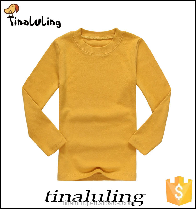 t shirt children 2-7 Years long sleeve cotton boys clothing plain yellow tops chinese clothing manufacturers